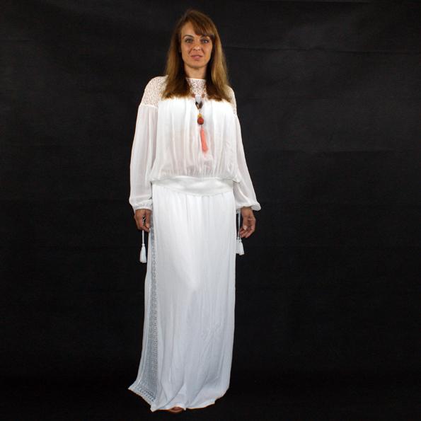 Zara kleid mit lochstickerei weiss